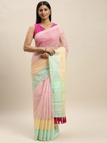 Vastranand | VASTRANAND Pink & Cream-Coloured Net Striped Kota Saree