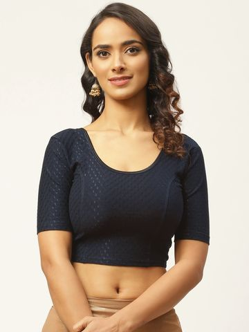 Vastranand | VASTRANAND Women Navy Blue Woven Design Stretchable Saree Blouse