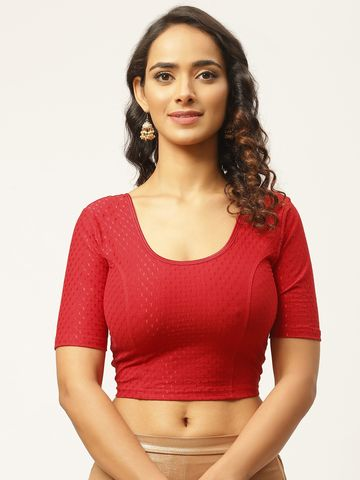 Vastranand | VASTRANAND Women Red Cotton Woven Design Stretchable Saree Blouse