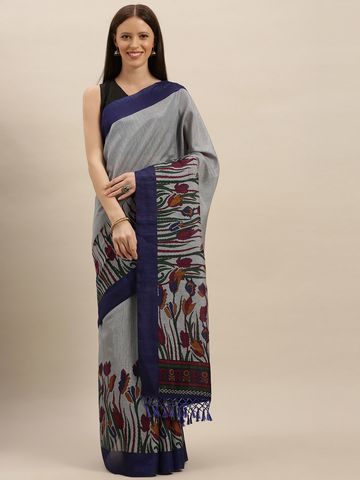 Vastranand | VASTRANAND  Blue Printed Silk Blend Saree