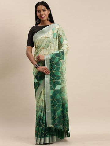 Vastranand | VASTRANAND Multicoloured Printed Linen Blend Blend Saree
