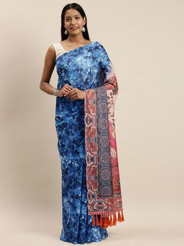 Vastranand | VASTRANAND Blue & Beige Linen Blend Blend Printed Saree