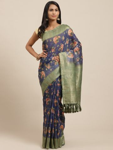 Vastranand | VASTRANAND Blue & Peach-Coloured Printed Banarasi Saree