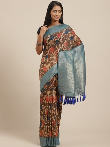 Vastranand | VASTRANAND Beige & Brown Printed Banarasi Saree