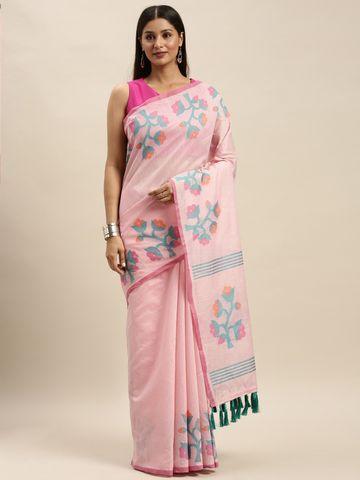 Vastranand   VASTRANAND Pink & Blue Linen Blend Woven Design Banarasi Saree