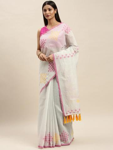 Vastranand | VASTRANAND White Linen Blend Solid Banarasi Saree