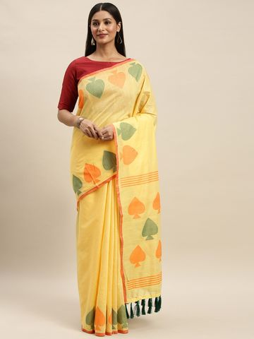 Vastranand | VASTRANAND Yellow & Green Linen Blend Solid Saree