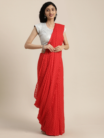Vastranand | VASTRANAND  Red Woven Design Georgette Saree