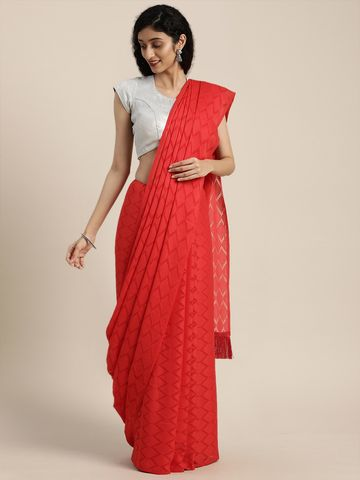 Vastranand | Red & Off-White Georgette Woven Design Saree