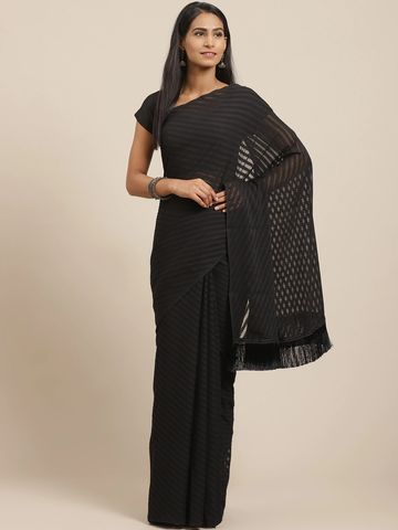 Vastranand | VASTRANAND Black Self-Striped Saree