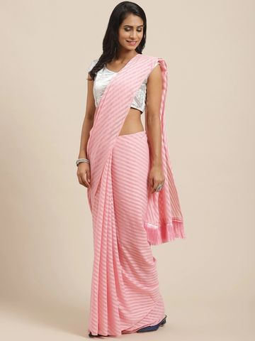 Vastranand | VASTRANAND Pink Self-Striped Saree