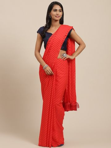 Vastranand | VASTRANAND Red Self-Striped Saree
