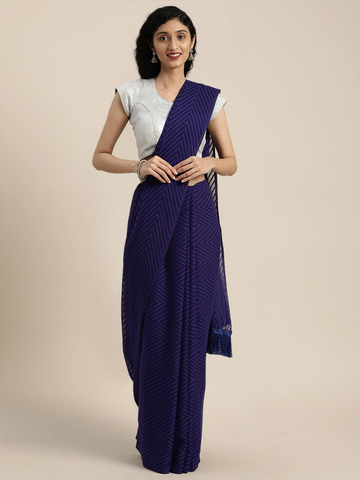 Vastranand | VASTRANAND  Navy Blue Woven Design Georgette Saree