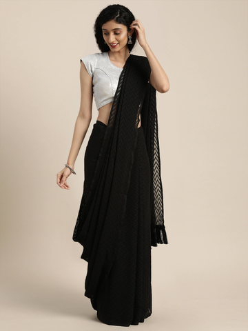 Vastranand | VASTRANAND  Black Woven Design Georgette Saree