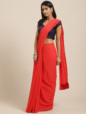 Vastranand | VASTRANAND Red Jaali Handloom Woven Design Saree