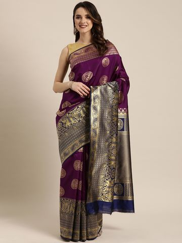 Vastranand | VASTRANAND  Burgundy & Gold-Toned Silk Blend Woven Design Banarasi Saree