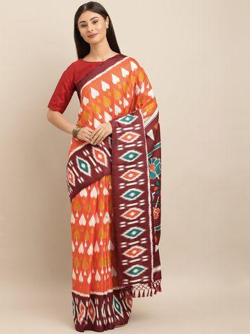 Vastranand   VASTRANAND  Orange & White Linen Blend Printed Ikat Saree