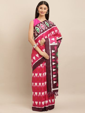 Vastranand   VASTRANAND  Magenta & White Linen Blend Printed Ikat Saree