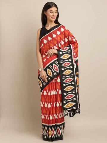 Vastranand | VASTRANAND  Red & Black Linen Blend Printed Ikat Saree