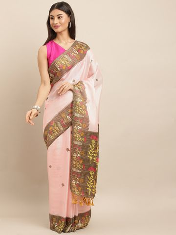 Vastranand | VASTRANAND  Pink & Brown Jute Printed Paithani Saree