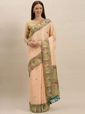 Vastranand | VASTRANAND  Peach-Coloured & Brown Jute Printed Paithani Saree
