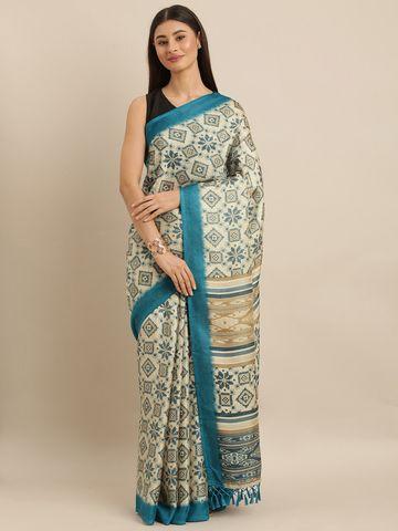 Vastranand | VASTRANAND  Off-White & Teal Blue Jute Printed Patola Saree