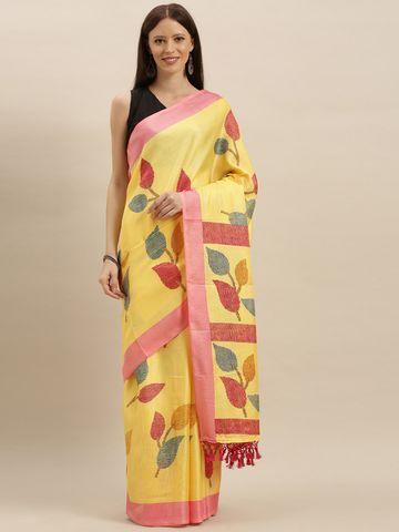Vastranand | VASTRANAND  Yellow & Pink Jute Printed Saree