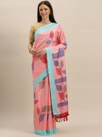Vastranand | VASTRANAND  Pink & Blue Jute Printed Saree