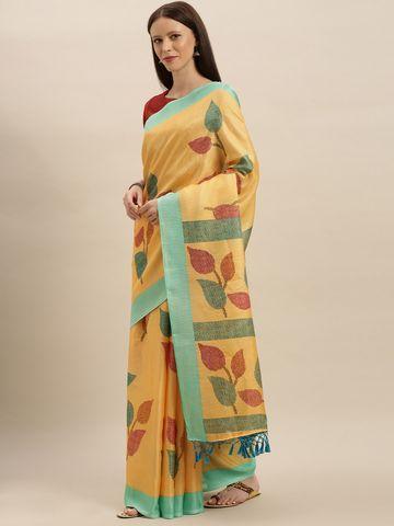 Vastranand | VASTRANAND  Mustard Yellow & Green Jute Printed Saree