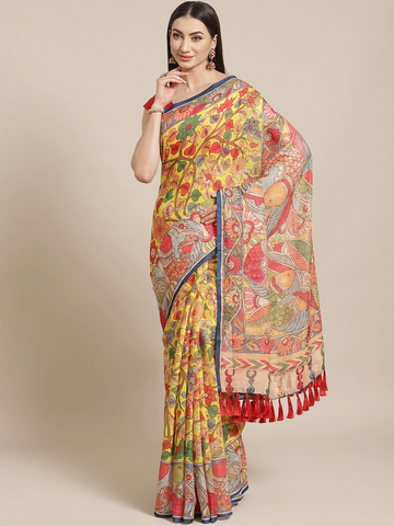 Vastranand | VASTRANAND  Yellow & Red Printed Saree