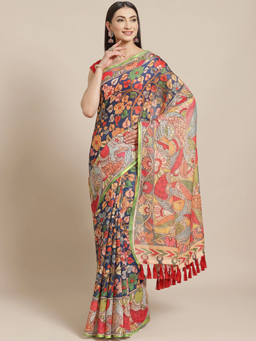 Vastranand | VASTRANAND  Navy Blue & Red Printed Saree