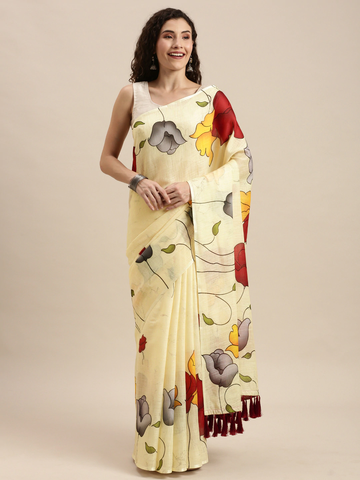 Vastranand | VASTRANAND  Yellow & Red Linen Blend Floral Printed Saree