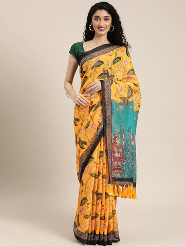 Vastranand | VASTRANAND  Yellow & Green Linen Blend Floral Printed Saree