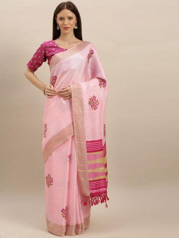 Vastranand | VASTRANAND  Pink Jute Printed Khadi Saree