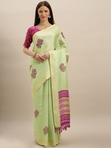 Vastranand | VASTRANAND  Lime Green & Purple Jute Printed Khadi Saree