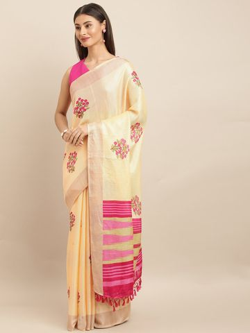 Vastranand | VASTRANAND  Peach-Coloured & Pink Jute Printed Khadi Saree