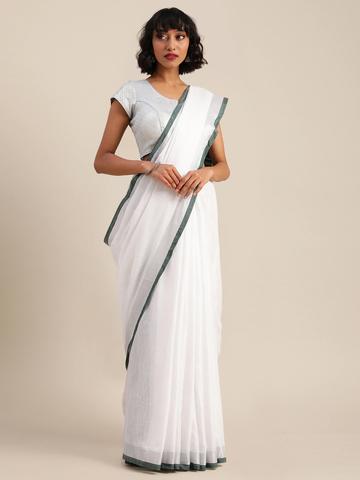 Vastranand | VASTRANAND  White & Green Cotton Blend Solid Bhagalpuri Saree
