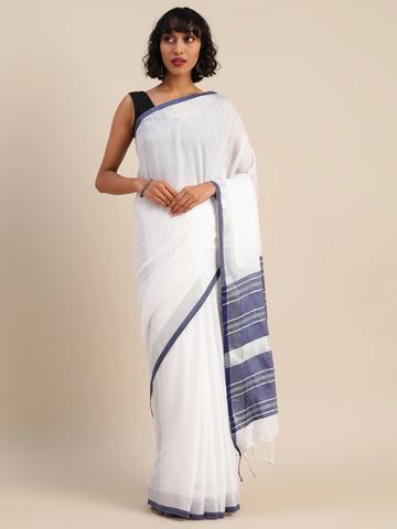 Vastranand | VASTRANAND  White & Navy Cotton Blend Solid Bhagalpuri Saree