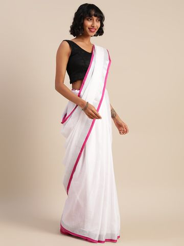 Vastranand | VASTRANAND  White & Pink Cotton Blend Solid Bhagalpuri Saree