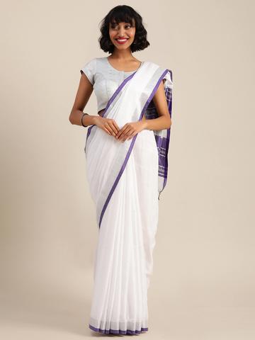 Vastranand | VASTRANAND  White & Purple Cotton Blend Solid Bhagalpuri Saree