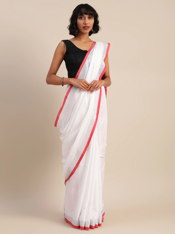 Vastranand | VASTRANAND  White & Red Cotton Blend Solid Bhagalpuri Saree
