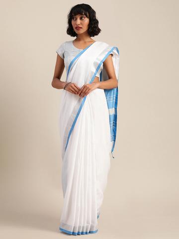 Vastranand | VASTRANAND  White & Blue Cotton Blend Solid Bhagalpuri Saree