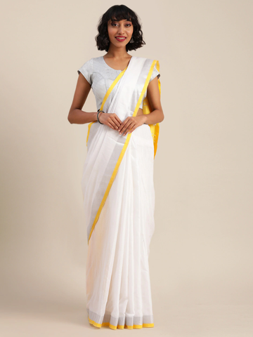 Vastranand | VASTRANAND  White & Yellow Cotton Blend Solid Bhagalpuri Saree