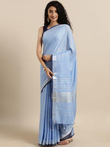 Vastranand | VASTRANAND  Blue Solid Linen Blend Saree