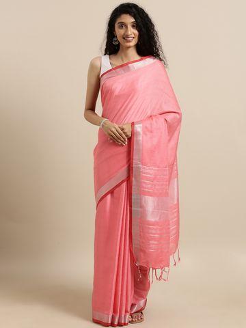 Vastranand | VASTRANAND  Coral Pink Solid Linen Blend Saree