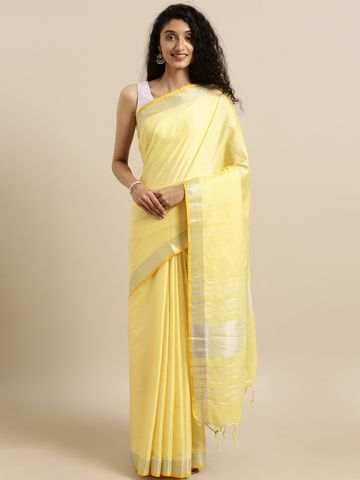 Vastranand | VASTRANAND  Yellow Solid Angolla Linen Blend Saree
