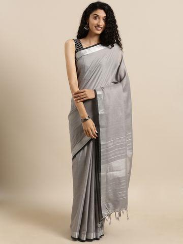 Vastranand | VASTRANAND  Grey Solid Angolla Linen Blend Saree