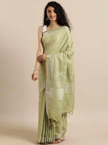Vastranand | VASTRANAND  Green Solid Linen Blend Angolla Saree