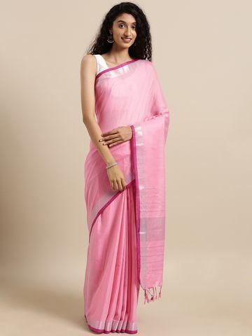 Vastranand | VASTRANAND  Pink Solid Linen Blend Saree