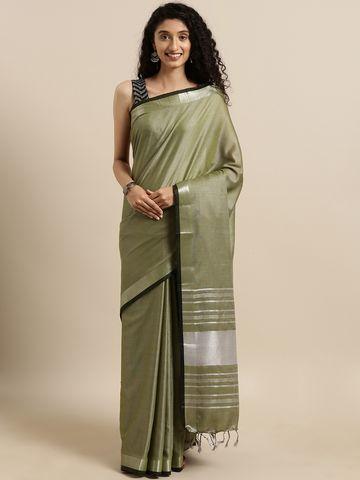 Vastranand | VASTRANAND  Olive Green Solid Linen Blend Saree
